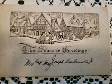 Vintage Art Deco Era Christmas Greeting Card Merry 1930s Signed Old Town Shops