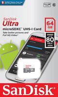 SanDisk Ultra 64GB 80MB/S 533X microSDXC MicroSD UHS-I Flash Memory Card Full HD