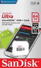 SanDisk Ultra 64GB 80MB/S 533X microSDXC MicroSD UHS-I Flash Memory Card Full HD