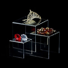 """Acrylic Clear Display Risers Set of 3 (3"""" 4"""" 5"""" inch) Jewelry Showcase Fixtures"""