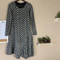 Nor Denmark Womens Gray Black Dress Asymmetrical Long Sleeves Distressed Size 2