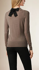 NWT $575  Burberry London Women's Gray Bow Detail Merino Wool Sweater L