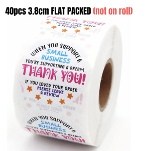 40pcs 38mm Thank You Sticker PLEASE LEAVE A REVIEW LABEL Business Sticker LARGE