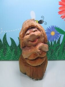 """WOODEN FOREST WOMAN - 7 1/2"""" Unbranded Troll - Hand Carved In Norway - Rare"""