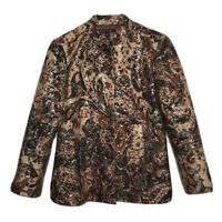 Lafayette 148 Size 8 Wool Silk Brown Gold Metallic Button Front Paisley Jacket