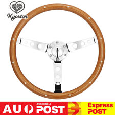 380mm Wooden Steering Wheel With Rivet & Horn Button Polished Spoke Universal