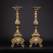 """Candlestick Pair   Two French Candle Holders   2 Baroque Pricket Bronze   16.5"""""""