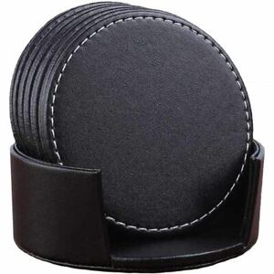 Set of 6 Leather Drink Coasters Round Cup Mat Pad for Home and Kitchen Use