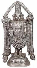 Brass Tirupati Balaji Statue With Silver Coating Hindu Sculpture Temple Decor
