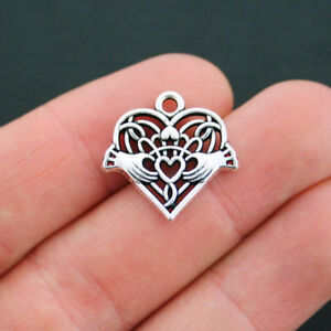 2 Celtic Heart Charms Antique Silver Tone Claddagh Attached Jump Ring - SC5216