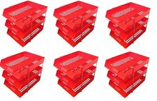 18 RED A4 Letter Filing In Out Desk Trays + 12 Risers Stacking Paper Office