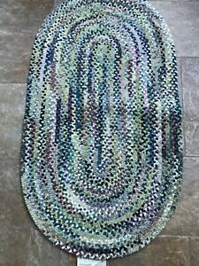 """USA Made  Capel Rugs old homestead green  Oval Braided Area Rug 27"""" X 48"""""""