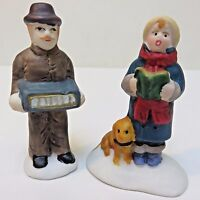 Lemax DAD PLAYING ACCORDION & SON SINGS (2 PCs) Porcelain Holiday Figures