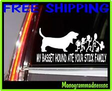 MY BASSET HOUND ATE YOUR STICK FAMILY VINYL DECAL STICKER CAR TRUCK