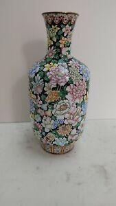 Fine Quality Vintage Tall Chinese Canton Enamel Millefleur Vase
