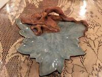 Vintage Terrafirma Pottery Sage Green Leaf Signed 1993 Rustic beautiful