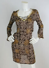Melissa Odabash Brown Printed Silk Metallic Trim Tunic Kaftan Coverup Dress XS/S