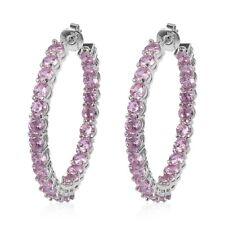 New 5 Cttw Round Cubic Zircon Pink Hoop Earring