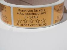 Thank You Sticker Label eBay Purchase & 5 Star DSR bright gold bkgd 250/rl