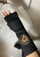 Chanel Genuine Black Russian Collection Long FingerLess Gloves 100% Cashmere NEW