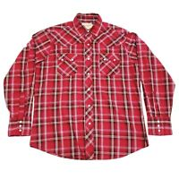 Wrangler Western Pearl Snap Shirt Long Sleeve Plaid Button Up Red Men's Large
