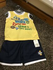 BNWT Mothercare baby boy navy Yellow top/short/12/18 Months