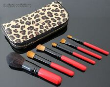 Make-up Mini Pinsel Set + Leopard Tasche 7tlg Pinselset Brush Schminkpinsel