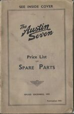 Austin Seven 7 original Price List of Spare Parts 1937 No. 1599 unillustrated