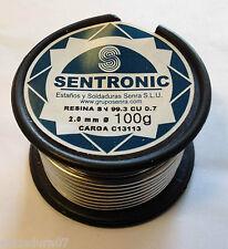 Rollo Estaño Electrónica Sn99,3 Cu0,7 de Ø 2,0 mm 100gr Aleación 401 LIBRE Plomo