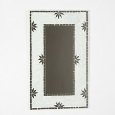 Leaf Mosaic Glass Wall Mirror/Handcrafted/Recycled glass/White 50x30cm