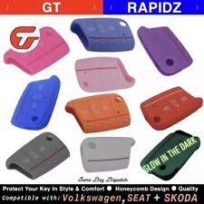 Silicone Flip Car Key Cover Compatible with VW SEAT SKODA  - MK7 GOLF POLO JETTA