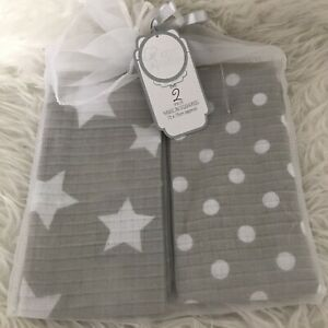 2 Pack Muslin Squares 75cm x 75cm  Burping Feeding Grey White Star Polka Dot