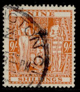 NEW ZEALAND GVI SG F200, 9s brown-orange, FINE USED. Cat £60.