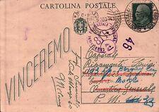 CARTOLINA POSTALE 1943 - VINCEREMO - PER BERSAGLIERI MOTOCICLISTI P.M.33  32-149