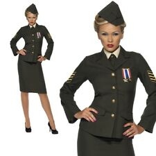 Ladies 1940's Ww2 Wartime Officer Costume - Army Fancy Dress 1940s Uniform