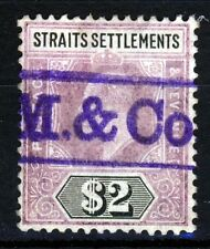 STRAITS SETTLEMENTS KE VII 1905 $2 Purple & Black Wmk Mult Crown CA SG 137 VFU