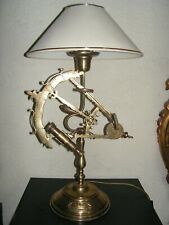 CABINET CURIOSITE LAMPE BRONZE BUREAU SALON INSTRUMENT MARINE SEXTANT LONGUE VUE
