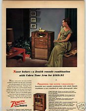 1948 PAPER AD Radio Console Zenith Challenger Phonograph Cobra Tone Arm