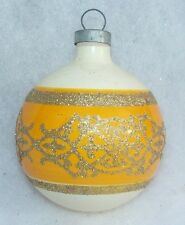 VINTAGE COLBY GOLD GLITTER STENCIL MERCURY GLASS CHRISTMAS ORNAMENT