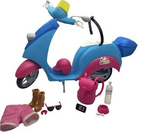 2011 BARBIE Pink Passport w Scooter & Travel Necessities for Replacement Pieces