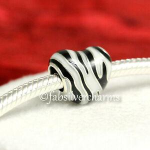 Authentic Pandora Wild Stripes, Zebra Heart Charm 798056ENMX