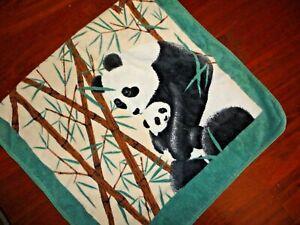 HILASAL PANDA BEAR BAMBOO BLACK GREEN TAN (1PC) BATH TOWEL 24 X 42