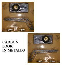 COPPIA specchietti retrovisore moto rettangolare metallo carbon look sferico