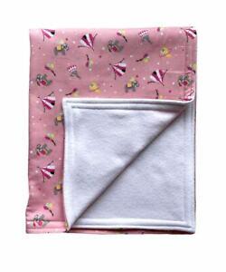Cute Cotton Pink Circus Baby Blanket-Size 62cm x 50cm. Handmade Blanket-BD66