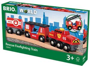 BRIO World 33844 Feuerwehr-Löschzug Holzeisenbahn Kleinkindspielzeug Zubehör
