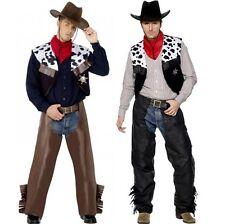 Hombre Disfraz de vaquero negro o marrón Smiffys Traje NUEVO