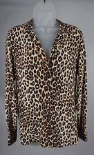 Womens Equipment Femme Kitten Leopard Print Silk Button Down Blouse Top Size S/P