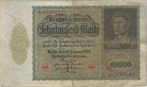 1922 10,000 MARK GERMANY CURRENCY GERMAN VAMPIRE NOTE BILL BANKNOTE MONEY CASH