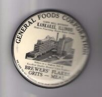 Vintage GENERAL FOODS Corporation Pocket Mirror Kankakee Illinois