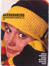 Coats Clarks Accessories Pattern Book 215 Crochet Knit Socks Mittens Hats VTNS